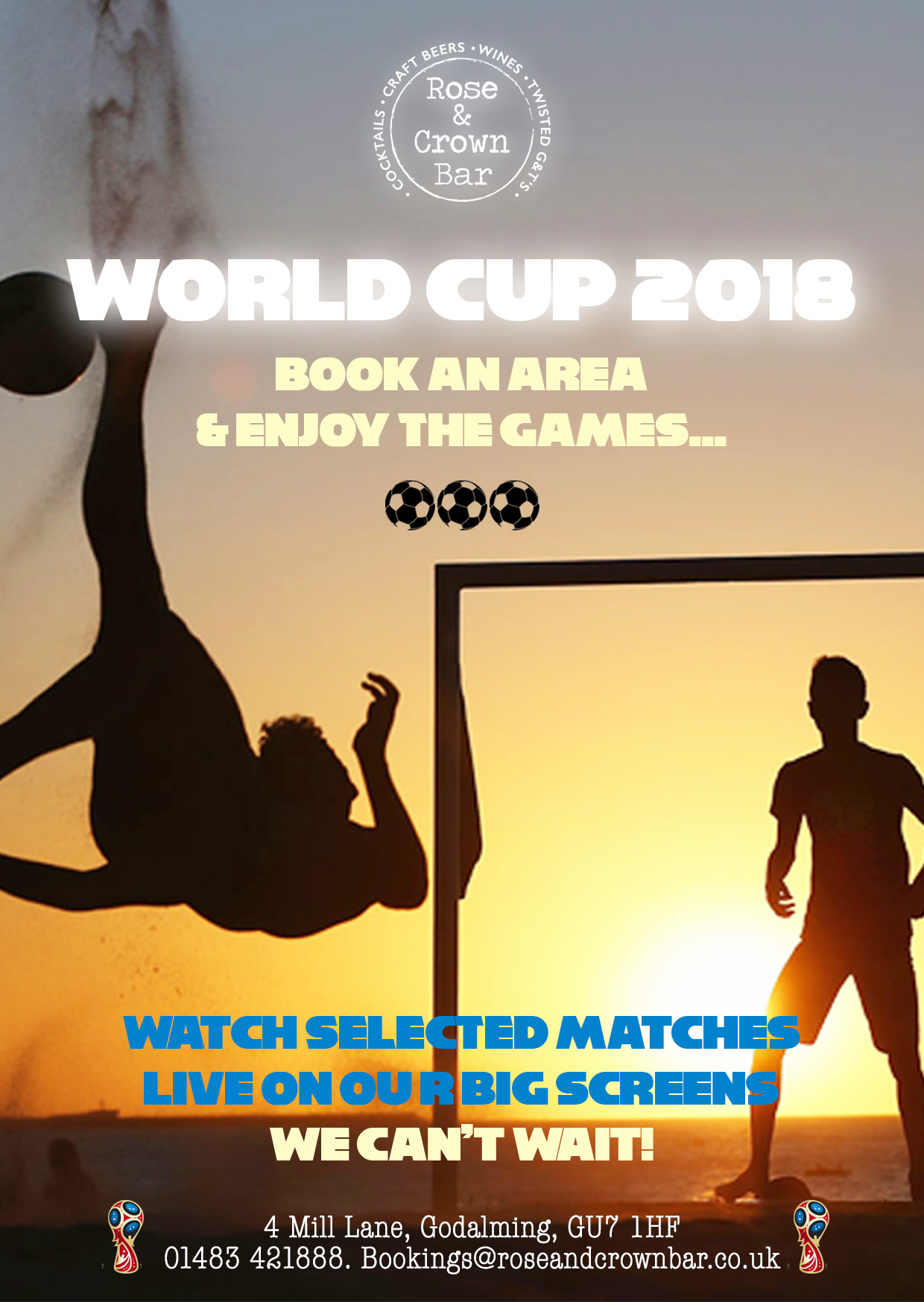 Join us - In Celebrating the World Cup 2018....Selected Matches LIVE on our big screens.Book a space HERE