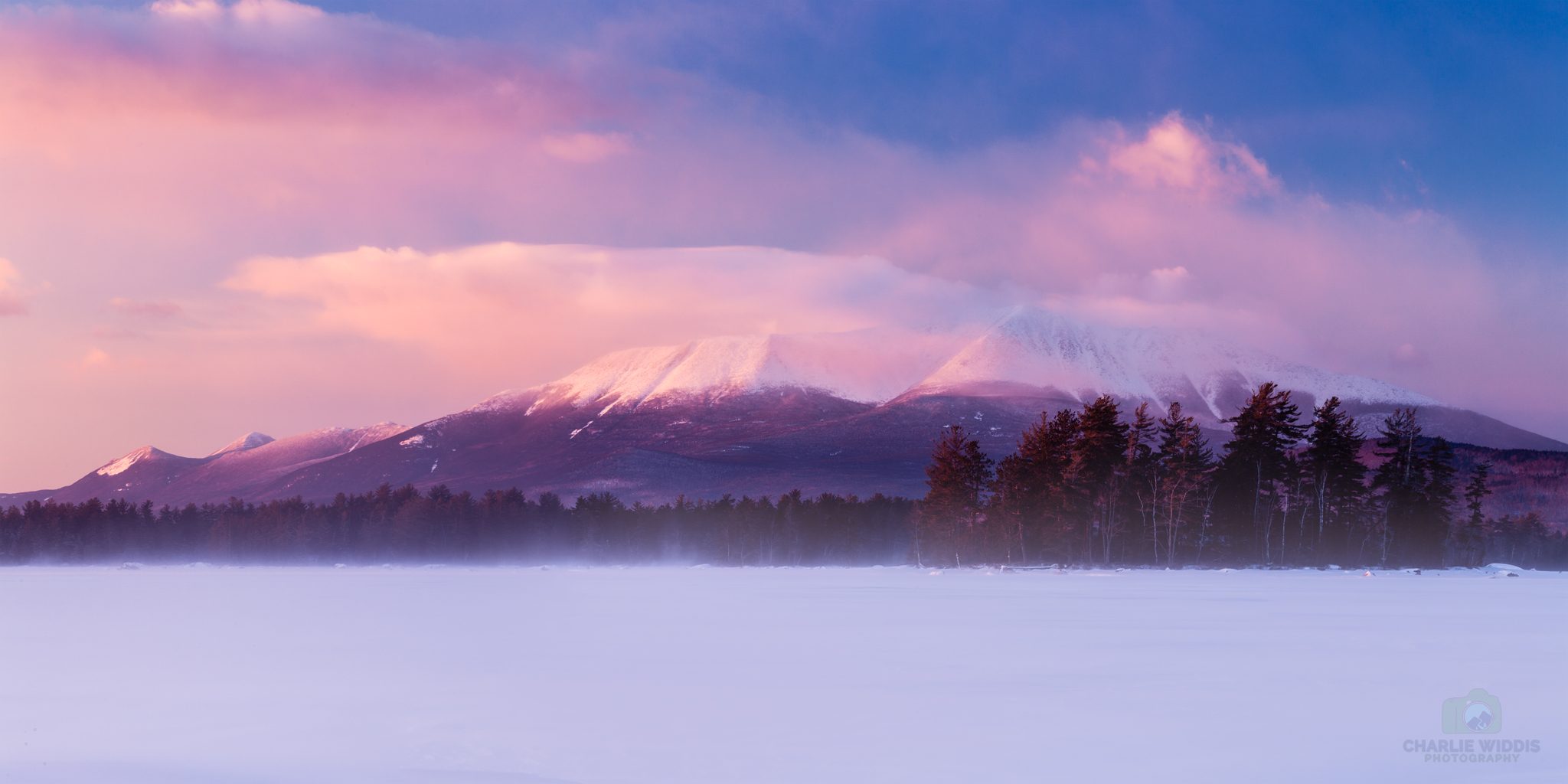 Beautiful sunset light on Mount Katahdin. This was a two minute walk from the cabin Chris booked for us.