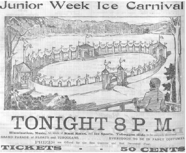 Ad for Junior Week Winter Carnival, Cornell Daily Sun, February 6, 1905