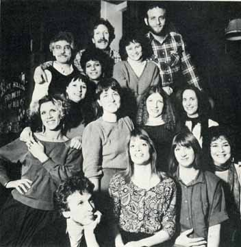 Membership of the Moosewood Restaurant in the 1980s: - (top row) David Hirsch, Tony del Plato; (row 2) Bob Love, Laura Branca, Lisa Wichmann; (row 3) Ned Asta, Elianna Parra, Nancy Lazarus, Linda Dickinson, Maureen Vivino; (row 4) Tom Walls, Maggie Pitkin, Susan Harville, and Wynelle Stein.  Courtesy of Ithaca.com. Photograph by Kathy Morris