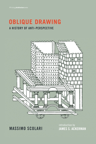 "Oblique Drawing: A History of Anti-Perspective  by Massimo Scolari Introduction by James S. Ackerman  For more than half a century, Erwin Panofsky's  Perspective as Symbolic Form  has dominated studies of visual representation. Despite the hegemony of central projection, or perspective, other equally important methods of representation have much to tell us. Parallel projection can be found on classical Greek vases, in Pompeiian frescoes, in Byzantine mosaics; it returned in works of the historical avant-garde, and remains the dominant form of representation in China. In  Oblique Drawing , Massimo Scolari investigates ""anti-perspective"" visual representation over two thousand years, finding in the course of his investigation that visual and conceptual representations are manifestations of the ideological and philosophical orientations of different cultures. Images prove to be not just a form of art but a form of thought, a projection of a way of life."