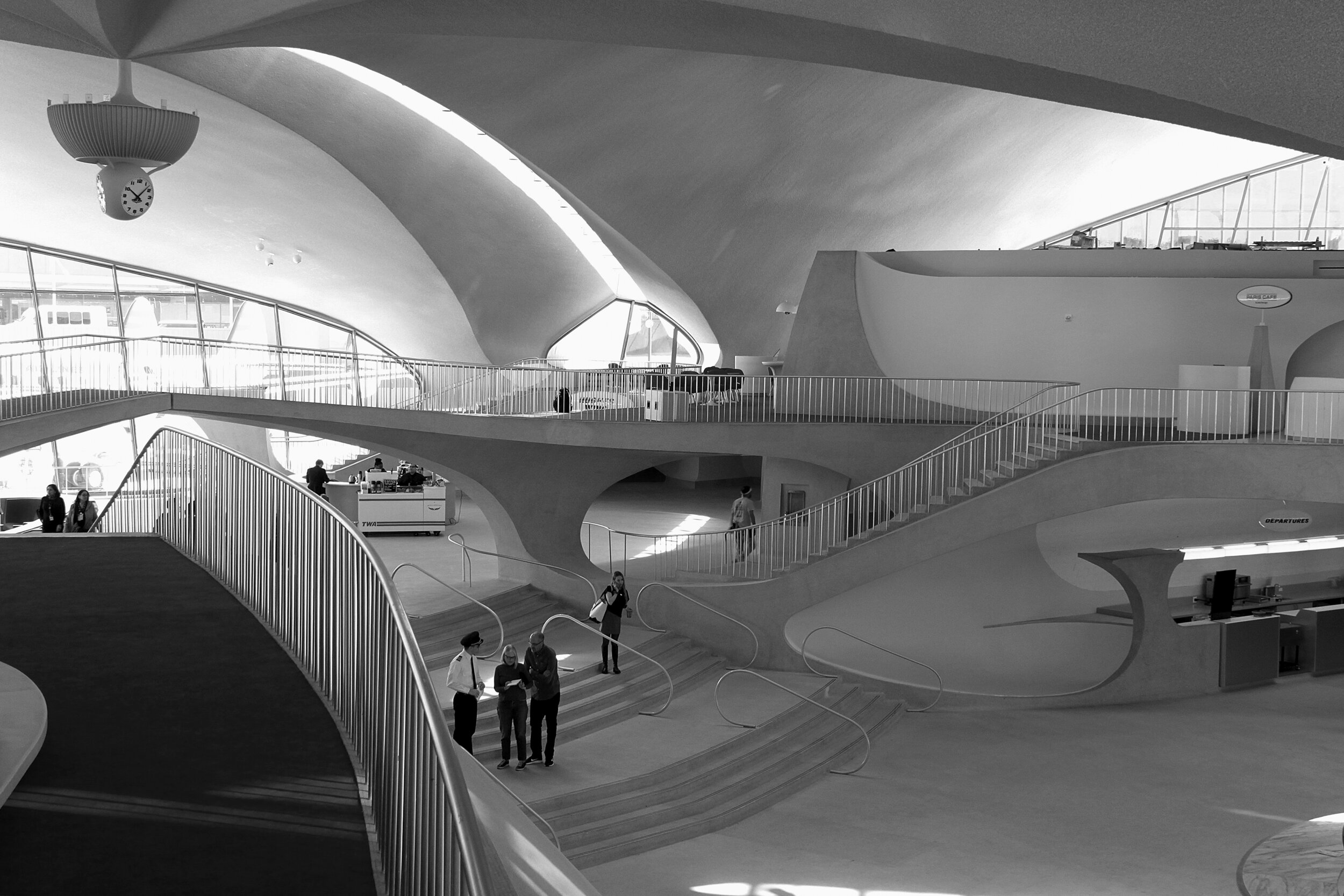The TWA Hotel lobby is daylit by large windows and the glazed joints between the soaring vaults that give the building its iconic form. Photo: Patrick Templeton.