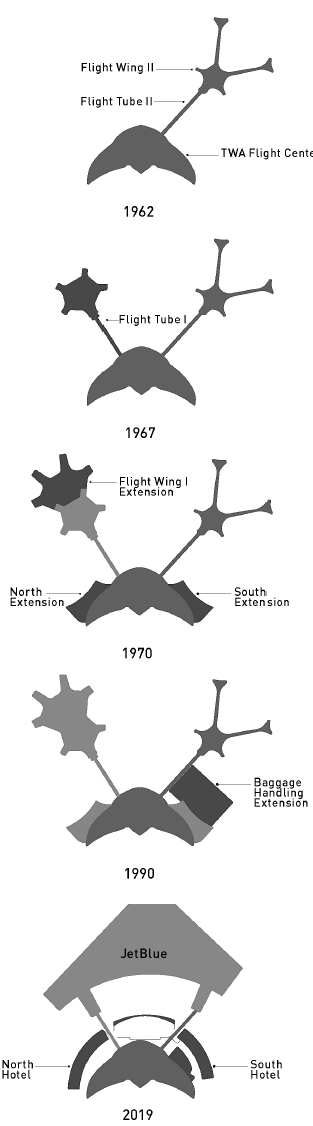 Diagrams showing the transformation of the TWA Flight Center, prepared by Beyer Blinder Belle Architects & Planners LLP. Courtesy the architects.