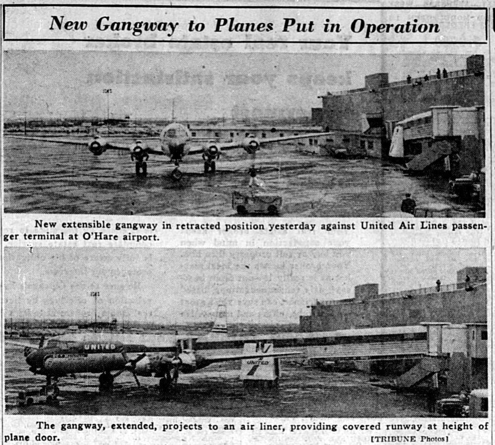"""Photographs illustrating Wayne Thomis, """"Folding Bridge Used at O'Hare: Public Boards Plane Under Shelter,""""  Chicago Tribune , March 29, 1958. All images courtesy the author."""