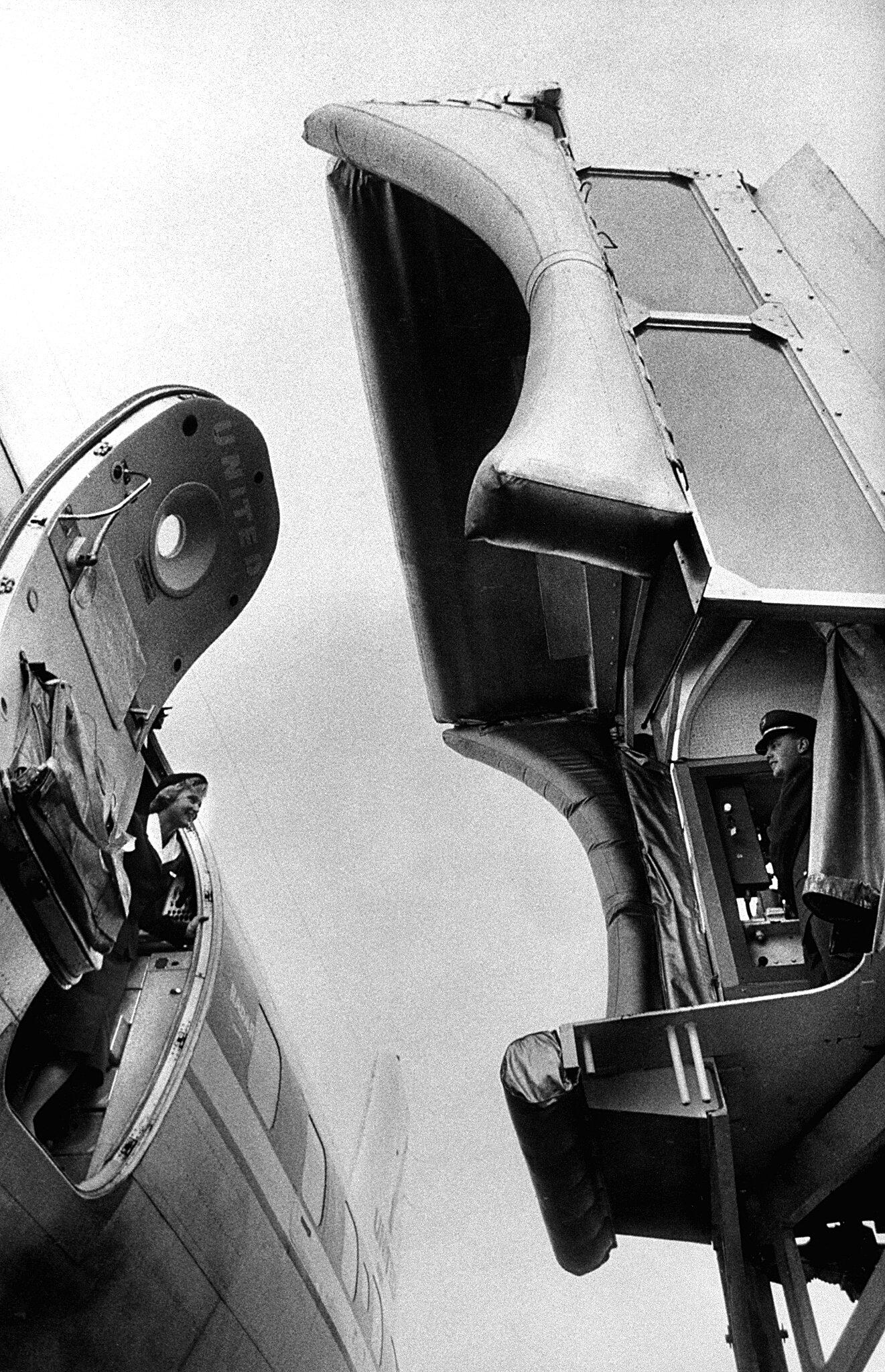 """Airport's Mobile Covered Bridge,""  Life , April 21, 1958. Photo: Al Fenn."