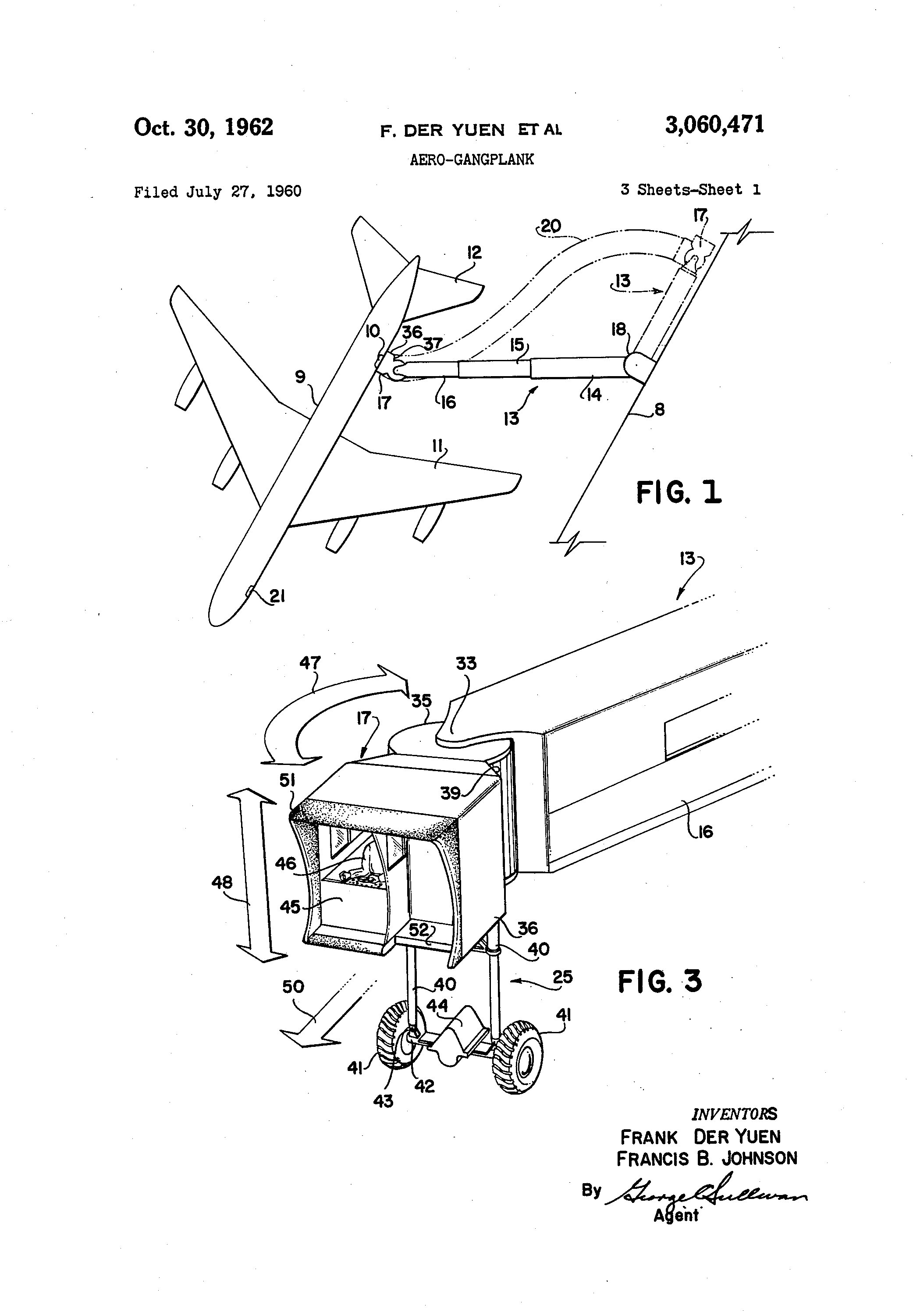 Frank Der Yuen and Francis B. Johnson, assignors to Lockheed Aircraft Corporation. Aero-Gangplank. U.S. patent #3,060,471, filed July 27, 1960; issued October 30, 1962.