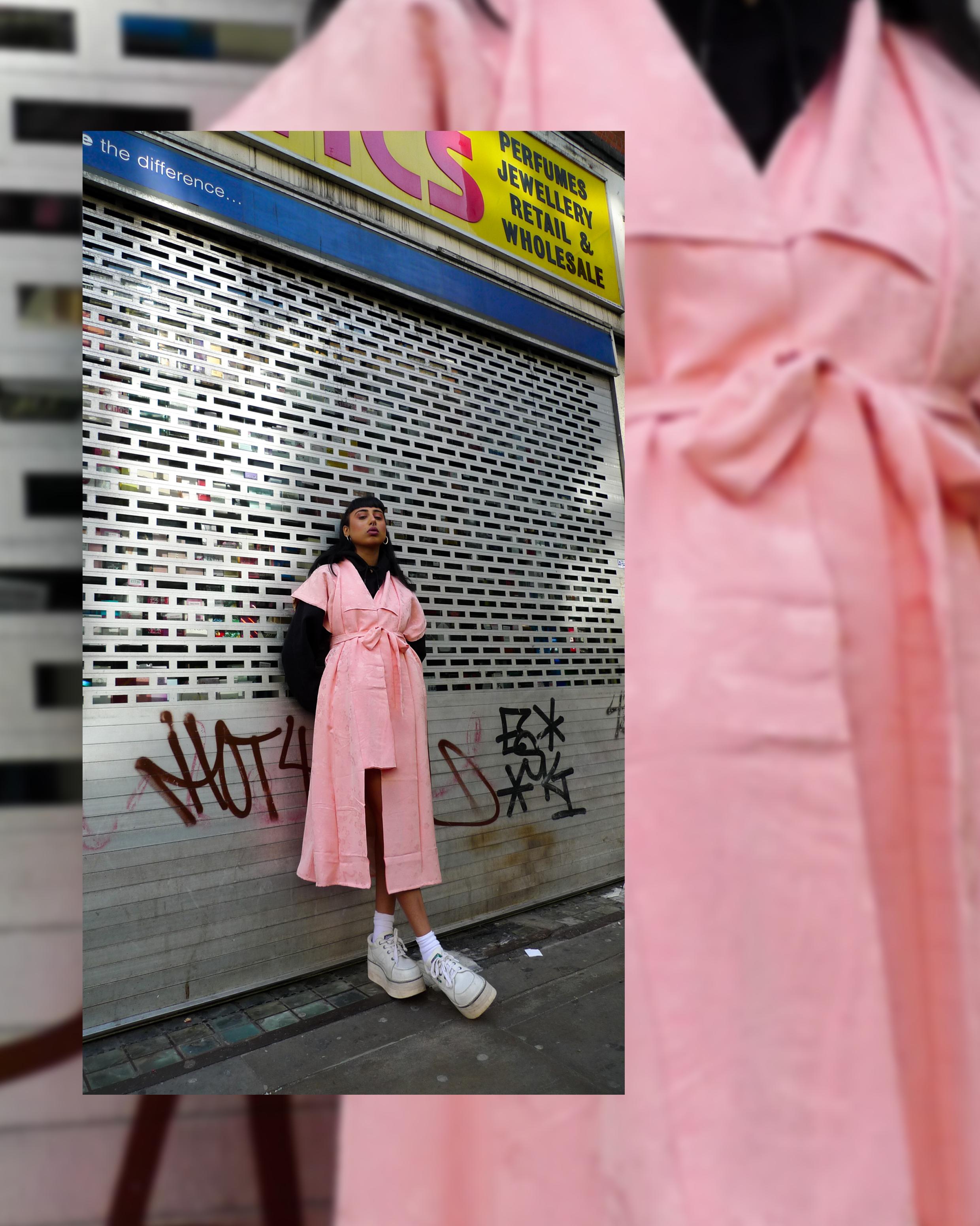 Sneha wears ATIKA Studio Kimono Wrap Dress. Reworked from a mid century vintage Japanese Kimono.