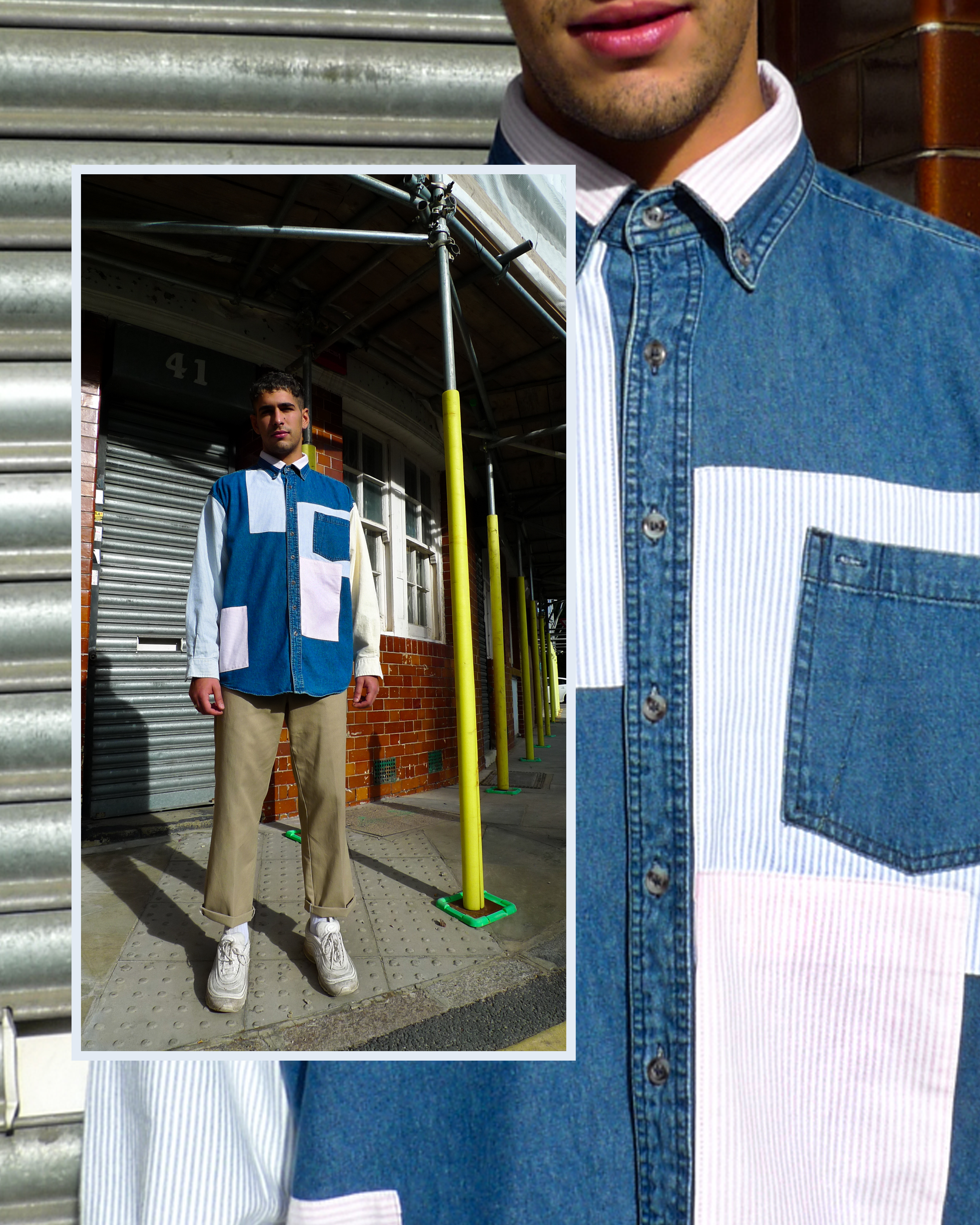 Giacomo wears ATIKA Studio reworked denim shirt. Patched with vintage shirt cut offs.