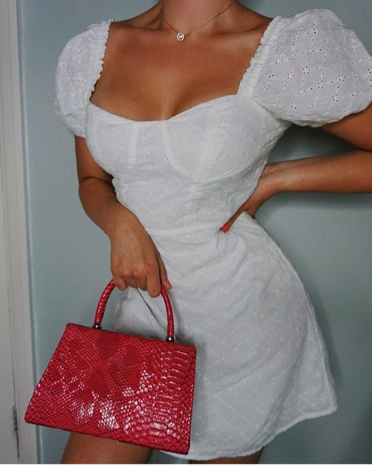 @sassysarah_ - Red Snake Print Mini Bag, adds a pop of colour to an all white fit