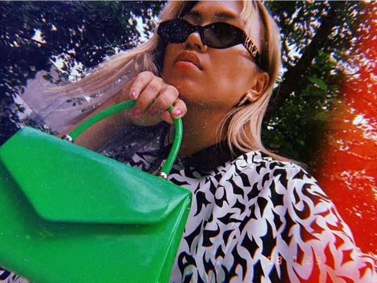 @riehata - Green Patent Mini Bag, styled with a monochrome print shirt