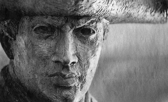 """""""He's got his game face on,"""" says Jim Barnhill, the N.C. A&T sculptor who created him. """"I made him a lean, mean fighting machine."""""""