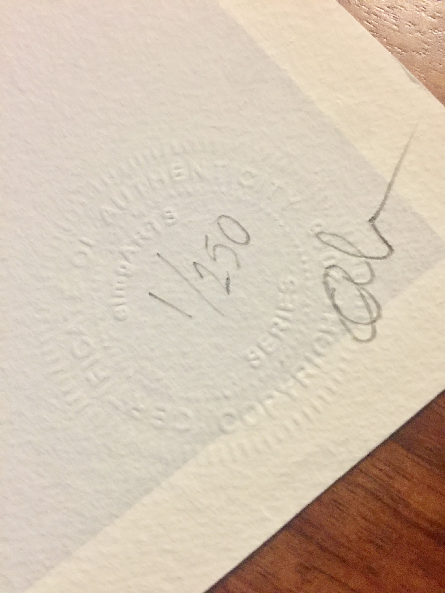 Copy of Signed and Hand-Numbered