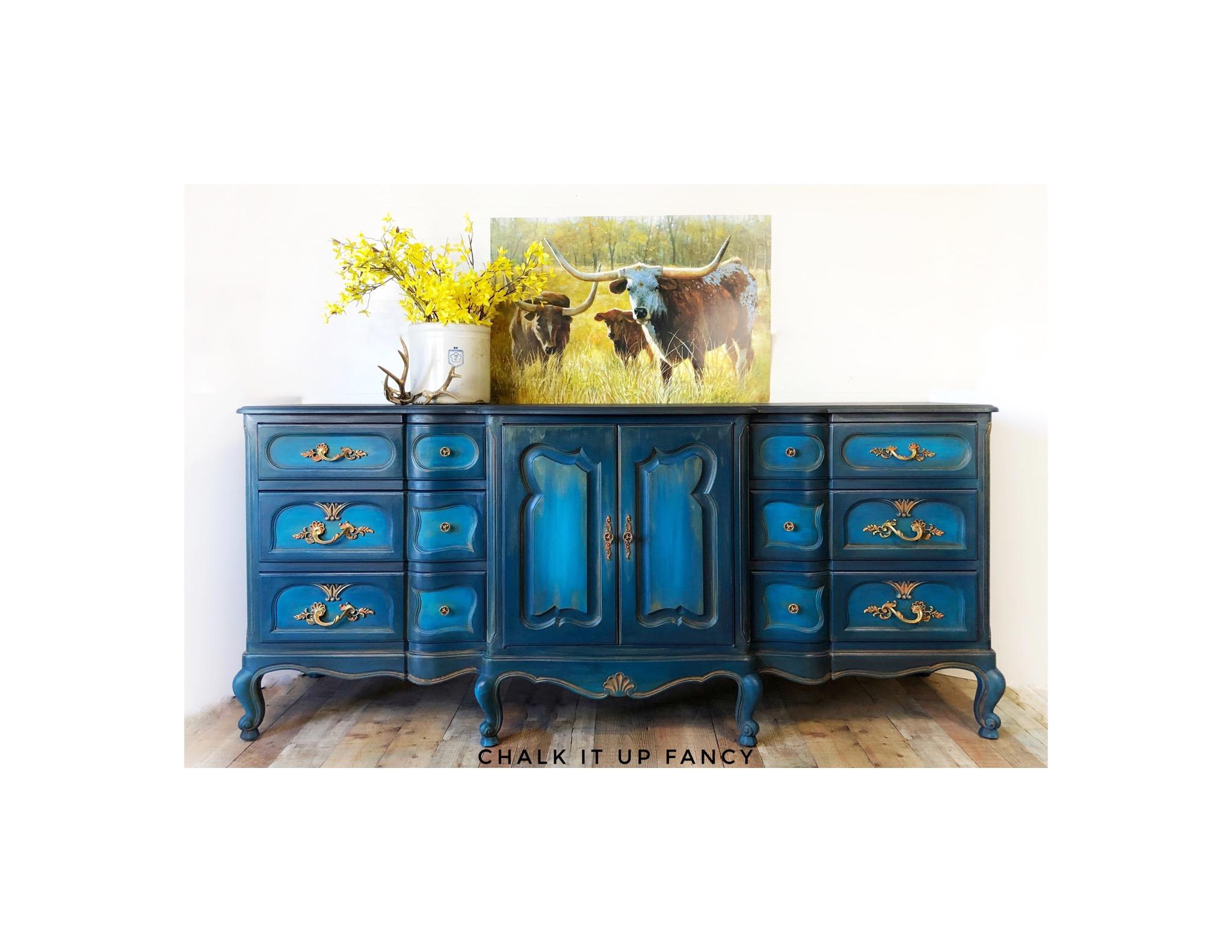 Dresser, 9 drawers, Blue, Orange, refinished dressers, boho, bohemian,  storage, bedroom furniture — Chalk It Up Fancy