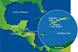 Roatans location, western caribbean sea