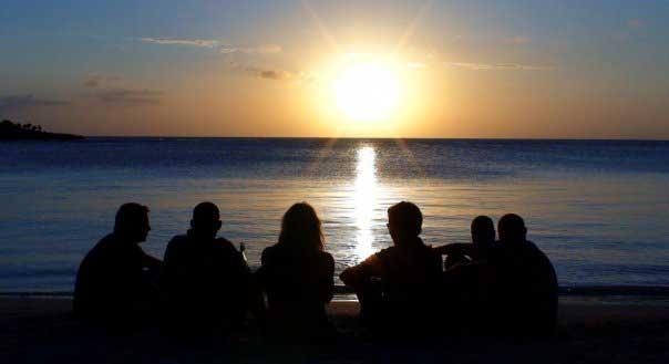 The scuba crew enjoying sunset