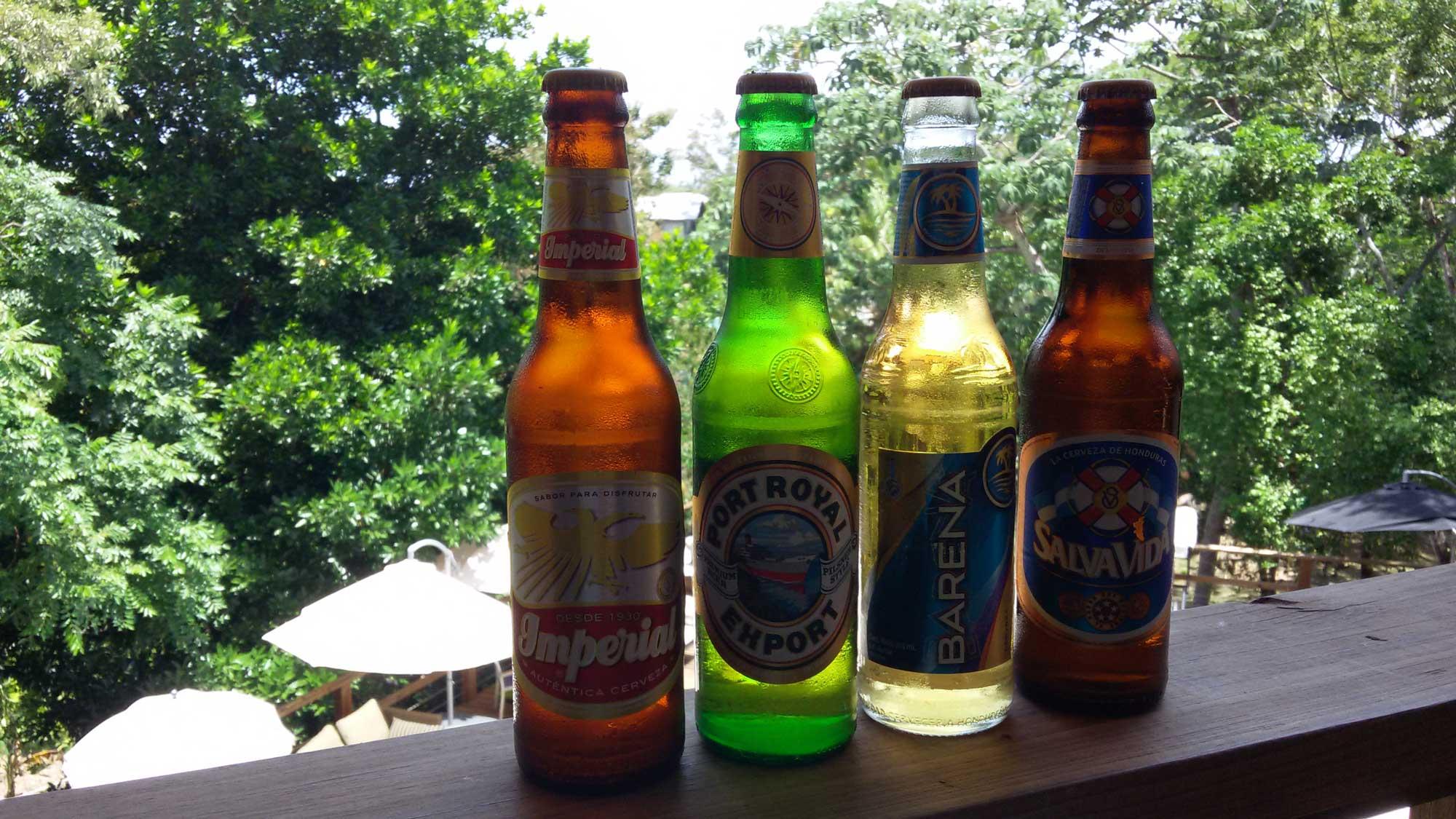 Local Honduran beers at Roatan Oasis