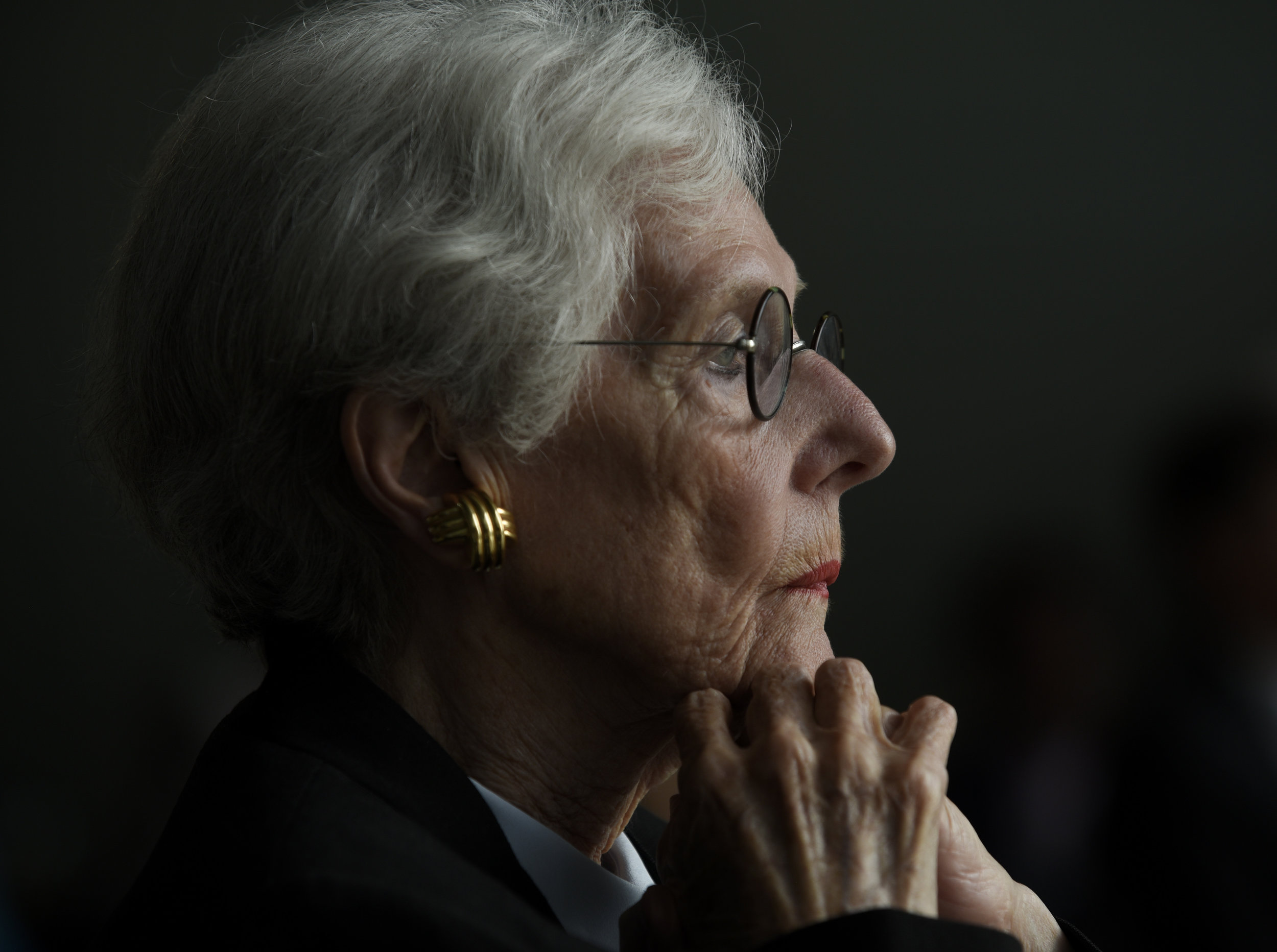 Hillsborough County Clerk of the Circuit Court Pat Frank listens to a speaker during the memorial service for her daughter, well-known Tampa figure Stacy Frank, at the Tampa Museum of Art on July 20, 2016. In June, Stacy passed away after a six-month-long battle with lung cancer.