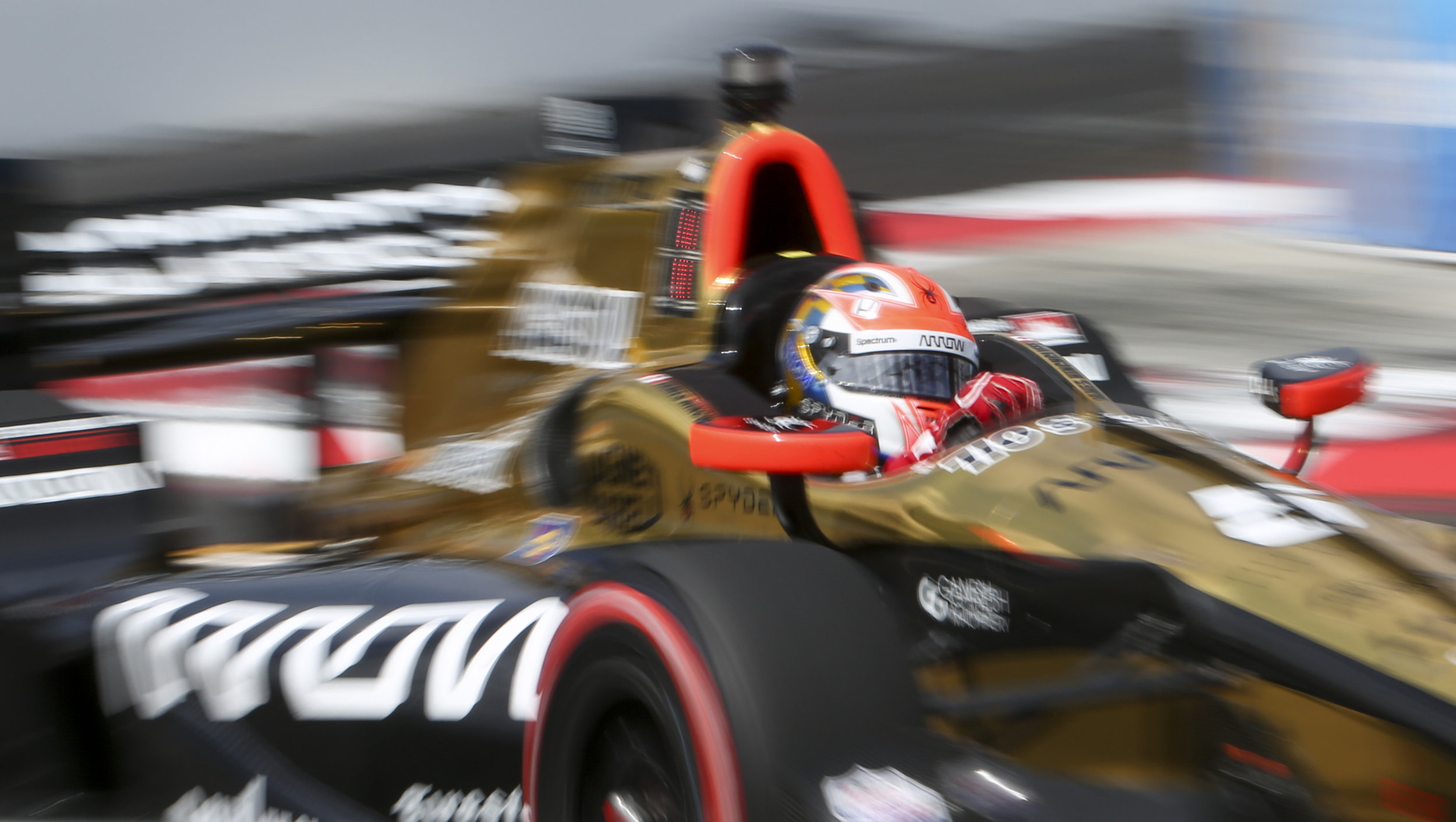The #5 car driven by James Hinchcliffe takes turn 10 during early laps of the Firestone Grand Prix of St. Petersburg Sunday, March 12, 2017 in St. Petersburg.