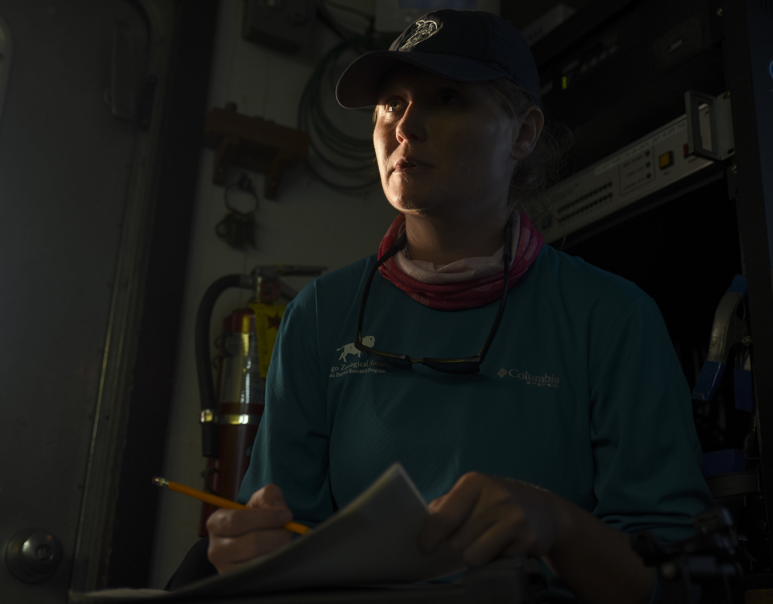 Kristen Wilkinson, a University of Florida PhD candidate, looks up from filling in a data sheet as the R/V Bellows steams back to Tampa Bay at sunset.