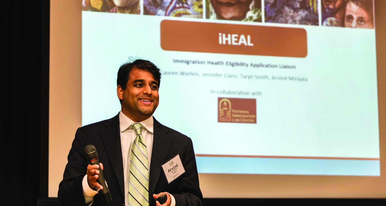 Student Arvind Miriyala (L'17) presenting his team's app at the Iron Tech Lawyer competition   .