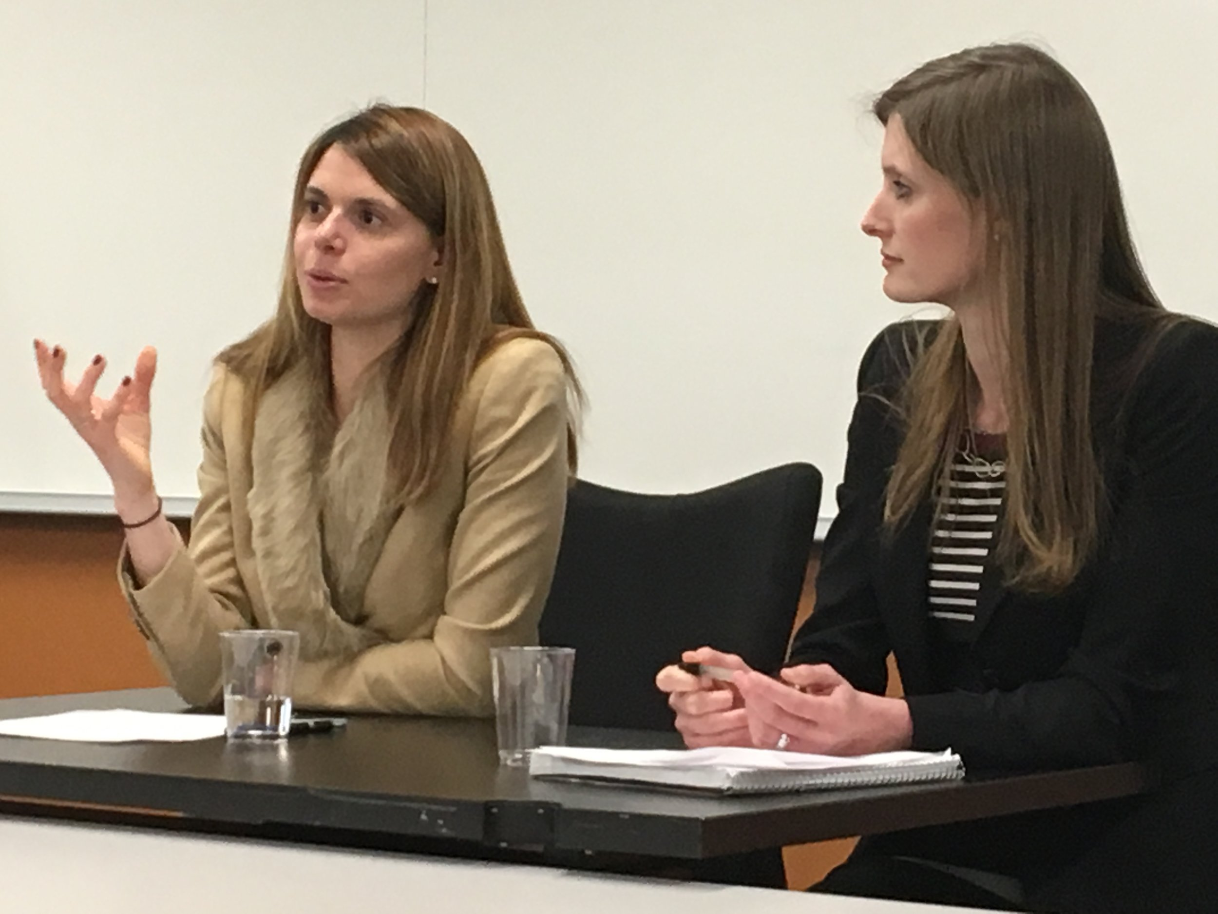 Sara Solow (L) addresses Georgetown Law students during an interview with Institute Executive Director Alexandra Givens (R)