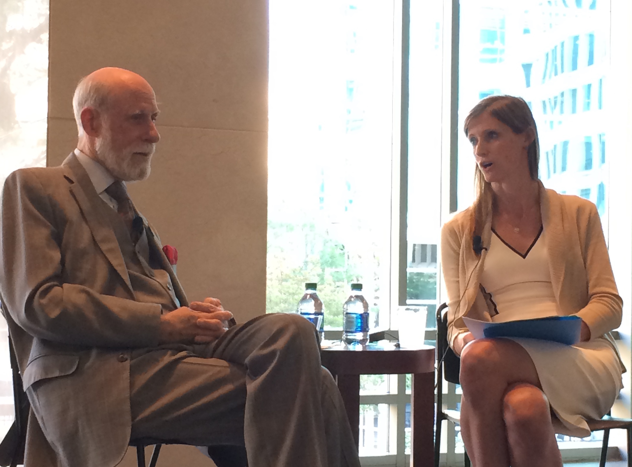 Institute Director Alexandra Givens (r) interviews Vint Cerf