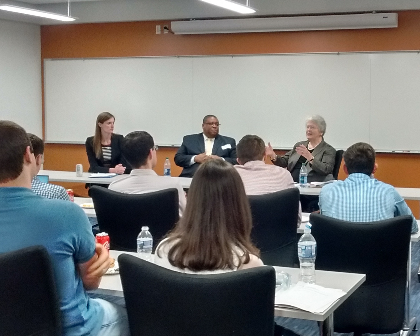 Institute Director Alex Givens (L) moderates a discussion with The Hon. David Strickland (C) and The Hon. Joan Claybrook (R), two former Administrators of the National Highway Traffic Safety Administration.