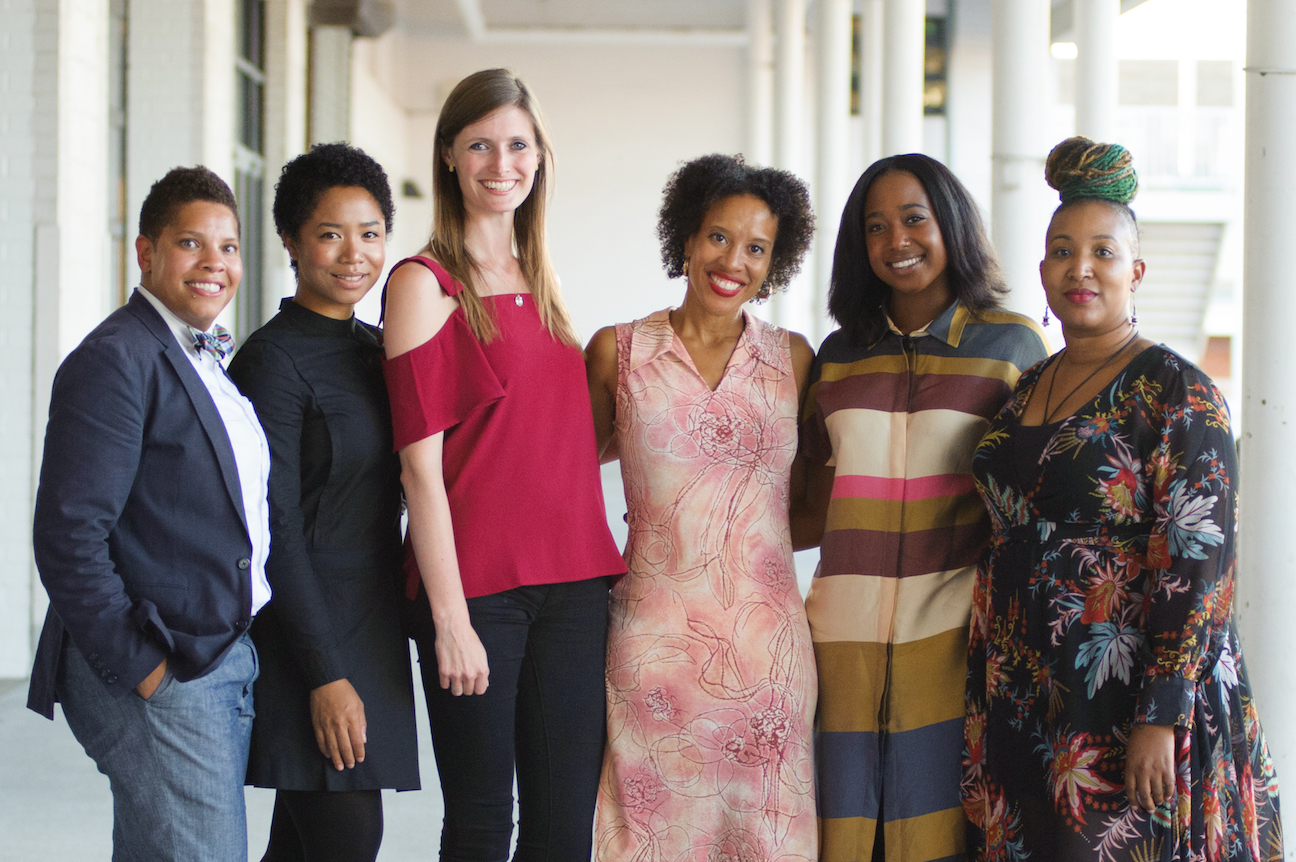 Tech Institute Executive Director Alexandra Givens (3rd from left), Fellow Deloris Wilson (2nd from right), and other members of the BEACON Board