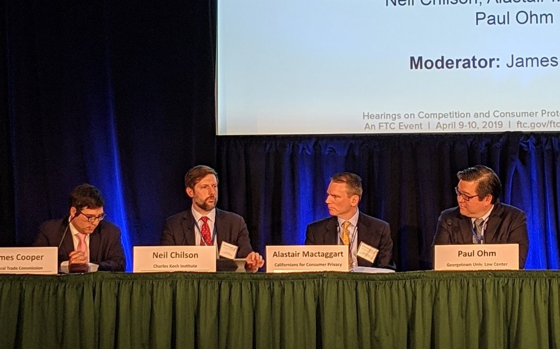 The FTC's James Cooper, former FTC Chief Technology Officer Neil Chilson, Alastair Mactaggart and Georgetown's Paul Ohm speak at the FTC's hearing on consumer privacy