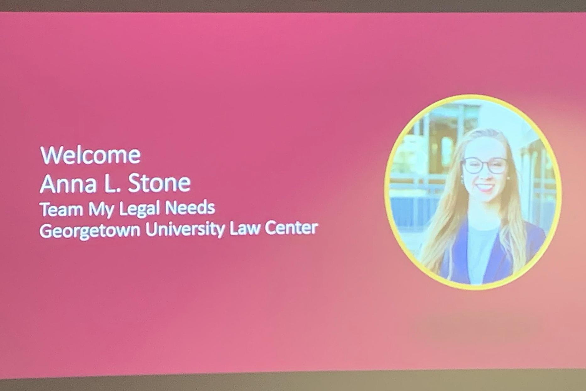 Slide announcing Anna Stone