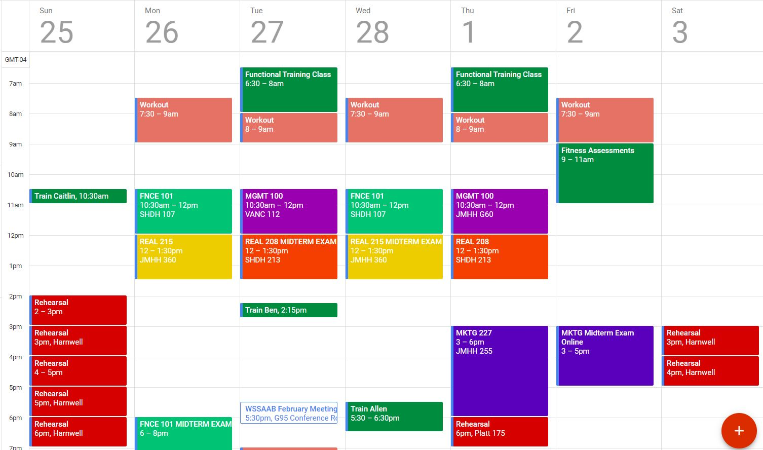 """A random week of my schedule from this past semester in college. Peep the salmon colored """"Workout"""" events at 7:30/8am."""