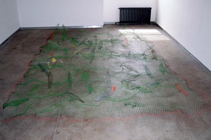 Bird Blanket, 1997-98   , painted chicken wire,  31 x 41 x 26 inches / 78.7 x 104.1 x 66 cm