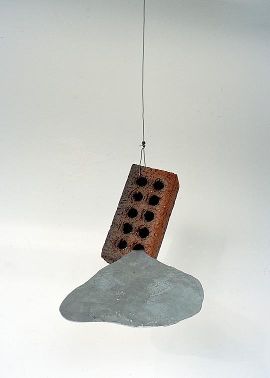 Ignatz, 2001,   galvanized steel & brick,4 x 9 x 7 inches / 10.2 x 22.9 x 17.8 cm