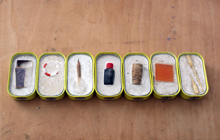 Lost at Sea Studies (7pieces), 2010-2012,   various objects cast in cement into sardine cans,1.5 x 2.5 x 3.5 inches / 3.8 x 6.4 x 8.9 cm