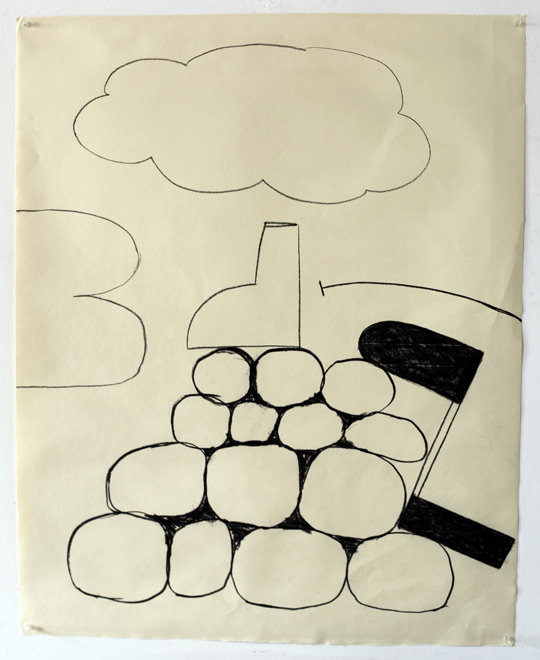 Untitled Charcoal-11/414, 2011,   charcoal on paper, 42.5 x 34 inches / 108 x 86.4 cm