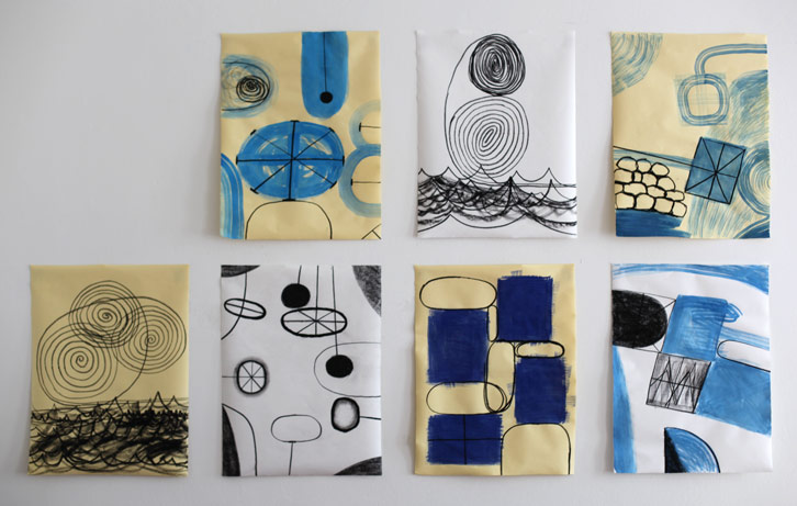 Six Drawings, 2012,   charcoal and gouache on paper, 19 x 24.5 inches / 48.3 x 62.2 cm