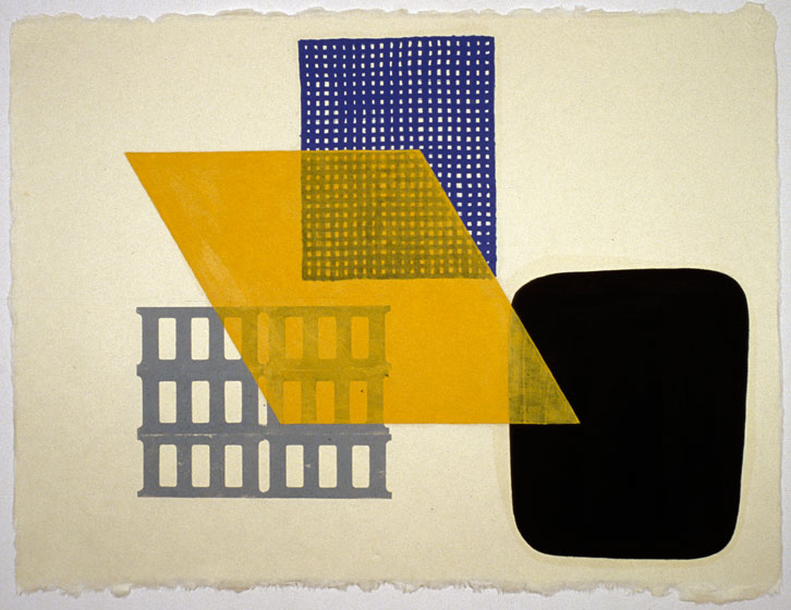 Block Group-002, 2002,   oil on Japanese paper, 26.5 x 35 inches / 67.3 x 88.9 cm