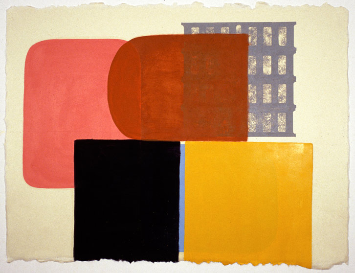 Block Group-001, 2002,   oil on Japanese paper, 26.5 x 35 inches / 67.3 x 88.9 cm