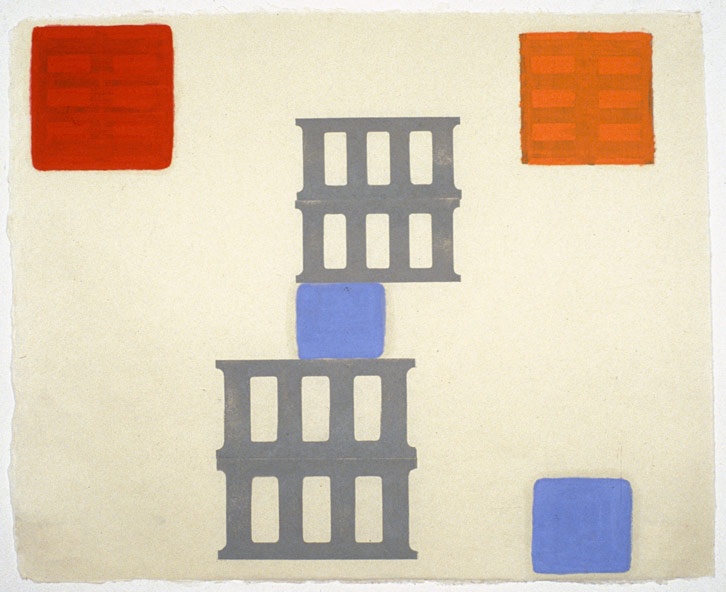Small Block Group-001, 2001,   oil on Japanese paper, 17 x 20.5 inches / 43.2 x 52.1 cm