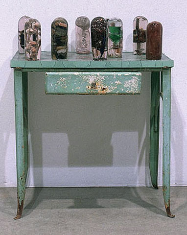 Wilderness, 1989,   steel table & miscellaneous objects cast within polyester resin, 38 x 30 x 15 inches / 96.5 x 76.2 x 38.1 cm, 1989