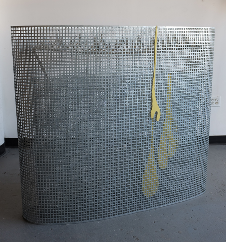Concentric Ellipses with drip, 2016,   welded, hot dipped galvanized & painted mild steel,48 x 54 x 16 inches / 121.9 x 137.2 x 40.6 cm
