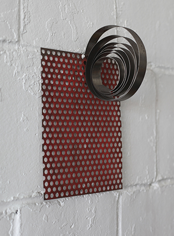 Coiled Wall Piece, 2013,   painted mild steel,14 x 9.5 x 6 inches / 35.6 x 24.1 x 15.2 cm