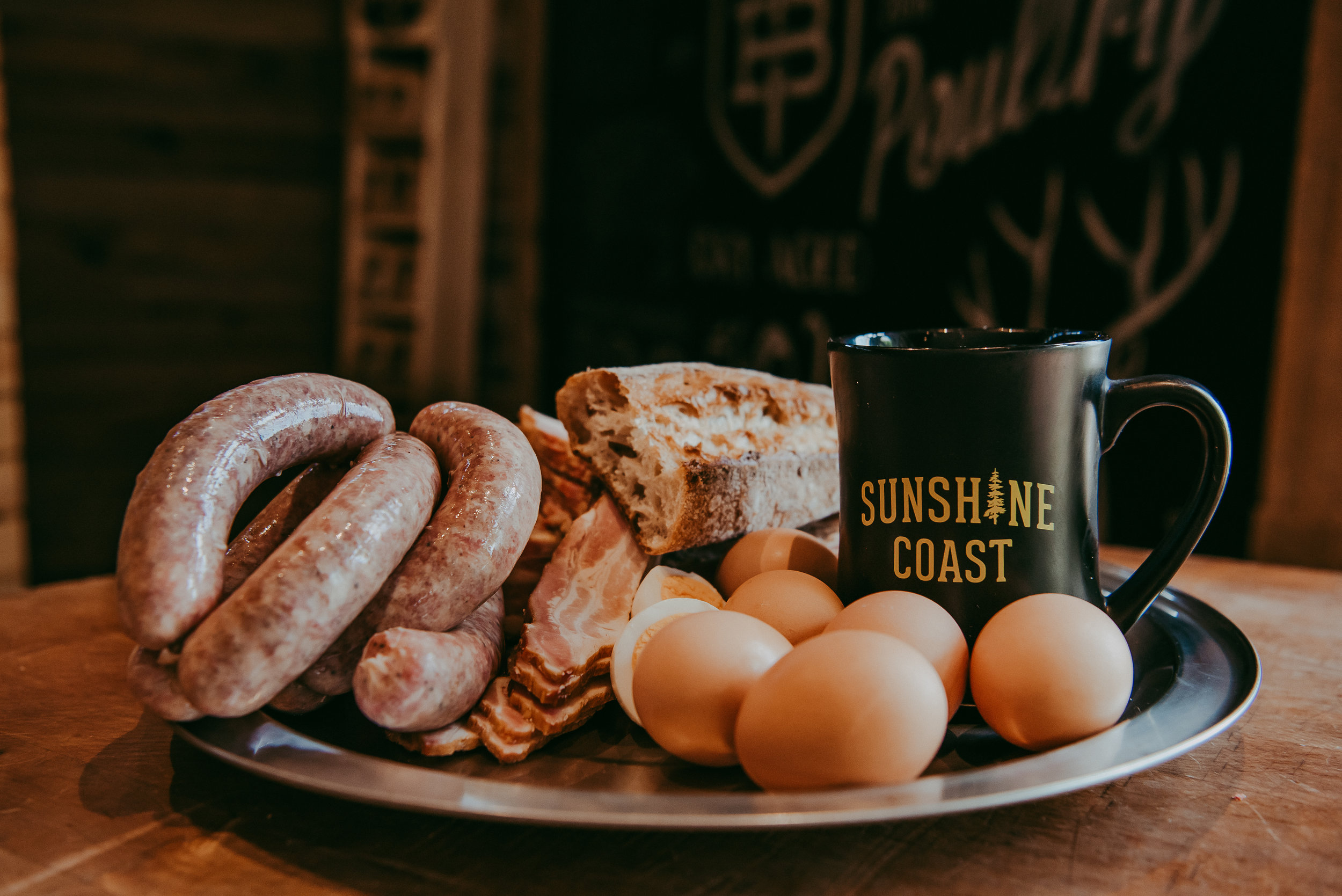 Our Weekend Market Bundle:  1 dozen Free Run Eggs, 1lb of Double Smoked Bacon & 1lb of Breakfast Sausages (only available at our Market location)
