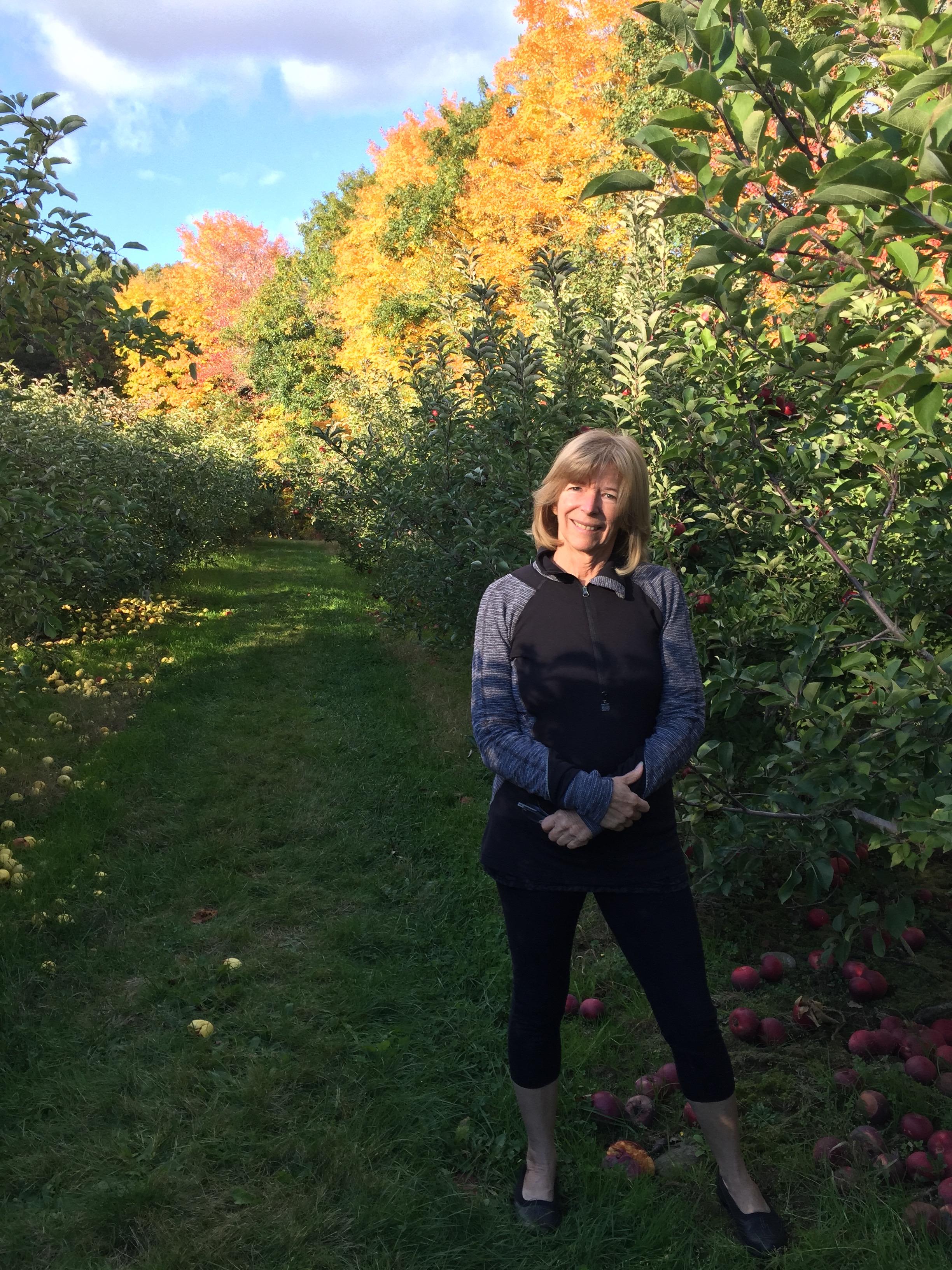 Enjoying a beautiful fall day at an apple orchard