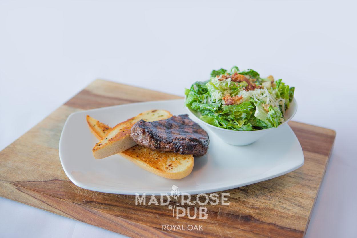 Steak Sandwich and Caesar Salad