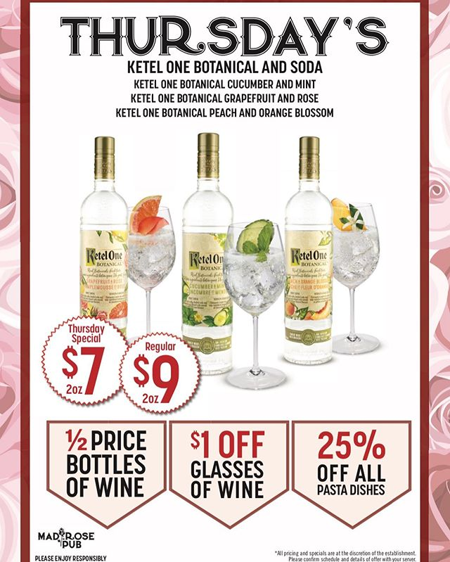 Ketel One Thursdays! Come check out our new daily drink features! #foodie #yycpubs #nwpubs #tbt #thursday #ketelonebotanicals #drinkfeature #pastanight #yyc #calgary