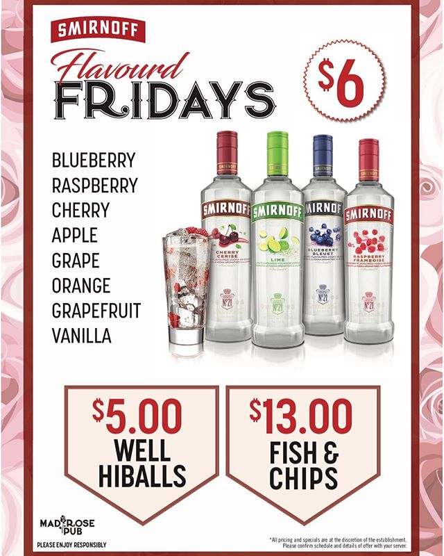 Flavoured Fridays! Come check out our new daily drink features! $13 fish and chips, $5 well hi-balls and $1 off @wildrosebrewery pints! 🍻 🐠 #friday #beer #fishandchips #drinkspecials #flavouredfridays #drinkfeature #nwpub #royaloak #yycbeer #yycpubs #yyc #calgary