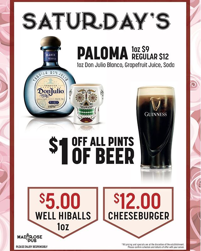 Paloma Saturday's! Come check out our new daily drink features! Today we have $5 highballs, $1 off all pints, and $12 cheeseburgers! #brunch #weekendmood #foodie  #highballs #pints #yycbeer #kidfriendly #yycfoodie #nwcalgary #calgarypubs #drinkfeature #palomas #yyc #calgary