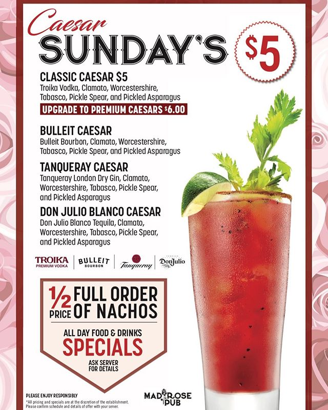 Caesar Sunday's! Come enjoy Happy Hour ALL DAY LONG!!! 1/2 off on full orders of nachos!☀️ #sundayfunday #beer #nachos #caesars #foodspecials #sundayfunday #happyhour #yycpubs #nwpubs #royaloak #caesarsunday #drinkfeature #yyc #calgary