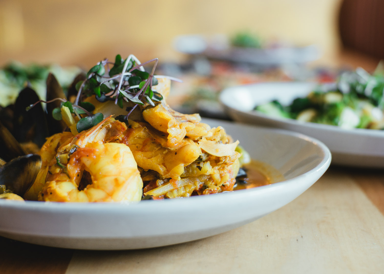 shrimp, mussels, greens, seafood